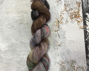 Hand Dyed Yarn - Fingering weight Yarn - OOAK 160 - merino Singles Single - speckles