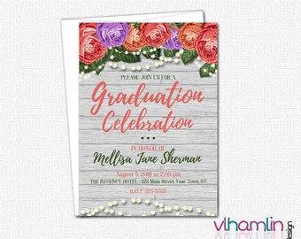 Rustic Roses Graduation Invitation - PRINTABLE High School College Graduation Party Invitations | wood floral elegant shabby