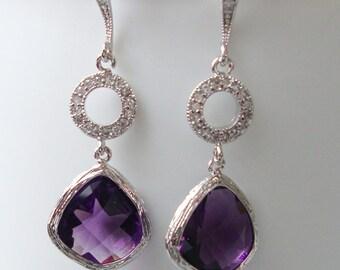 Purple Earrings for her purple Earrings amethyst purple earrings bridal purple Earrings for Bridesmaids earrings purple Jewelry gift