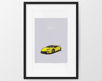 Lamborghini Huracán Performante - Yellow Print Illustration