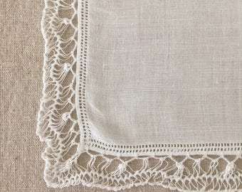 Vintage White Handmade Lace Hanky~Hankie~Handkerchief Bridal
