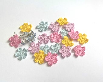 "Tiny crochet flowers Pastel shades set of 20 Crochet flower 0.5"" Simple Little Spring Pastel"