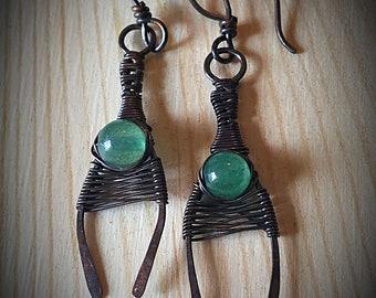 Adventurine Wishbone Earrings