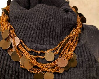 Multi Strànd Brown Seed Bead Necklace