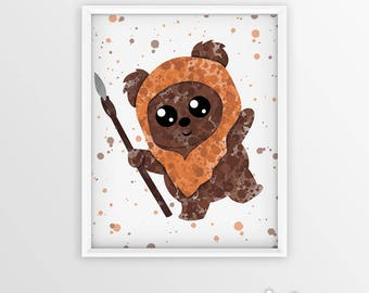 Ewok, Star Wars Art, Star Wars Watercolor, Splash Art Print, Nursery Decor, Childrens, Kids Wall Art, Home Decor Boys Room, Instant Download