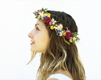 Bridal Flower Headpiece, Wildflower Flower Crown, Rustic Bridal Floral Crown, Wildflower Headpiece, Pink, Yellow, Rustic Wedding, Woodland