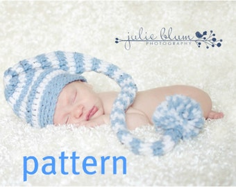 Crochet Pattern, Stocking Cap PDF Long Tail Baby Hat Pattern, Photography Prop, Instant Download