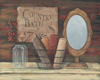Bath Wall Decor,Country Bath,Primitive Bath,vintage Bath Wall Decor, 14x11,Pam Britton