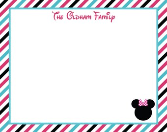 Minnie or Mickey Flat Striped Personalized Notecards