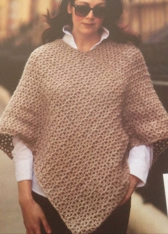 Ladies Crochet Poncho Pattern From Giftsfromcambridge On Etsy Studio