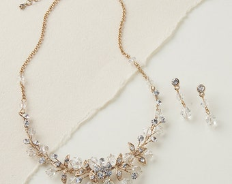 Gold Floral Jewelry Set, Crystal Jewelry Set, Rhinestone Jewelry Set, Gold Jewelry Set, Floral Jewelry Set, Bridal Jewelry Set ~JS-1623