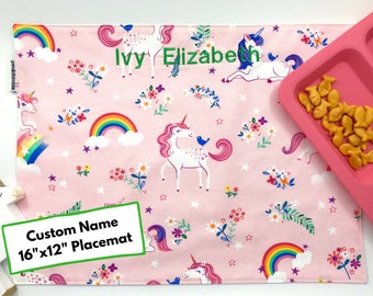 Embroidered Name Placemat (Unicorn Gift Under 20, Cotton Placemat, For Children, Montessori Lunch, Reusable Placemat, Picnic Placemat)