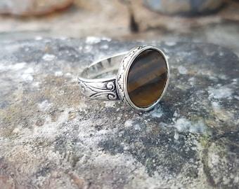 Tiger's Eye 925 Sterling Silver Ring Handmade