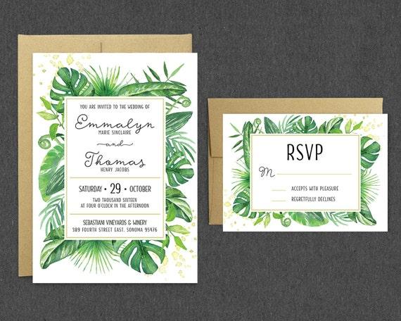Tropical Wedding Invitation RSVP Greenery Wedding