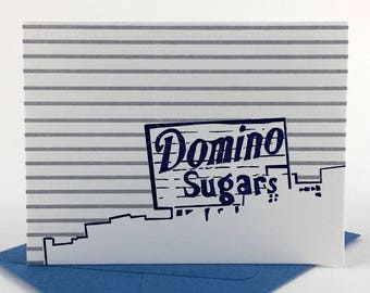 Baltimore Letterpress Card | Domino Sugars Sign | blue & silver single blank card with envelope
