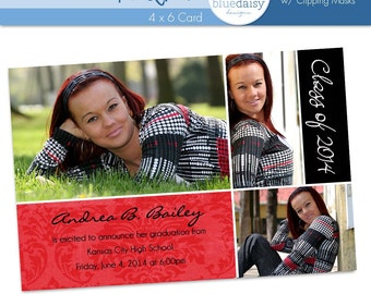 Graduation Announcement (Andrea) Photoshop Templates for Photographers