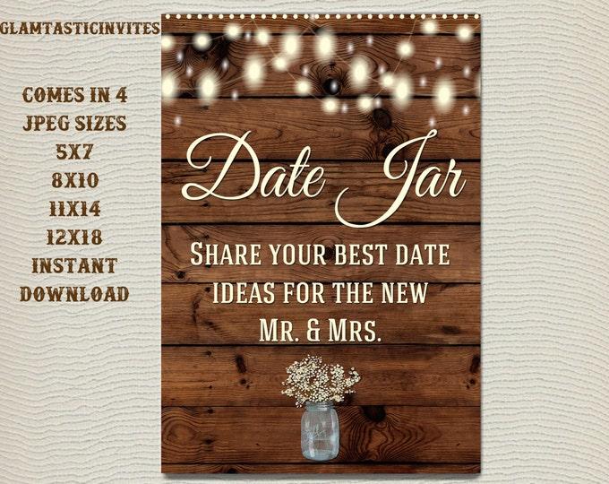 Printable Shower Sign, Date Jar Sign, Rustic Shower Sign, Printable Sign, Shower Sign, Rustic Wedding, Wood Sign, Digital Sign, Rustic