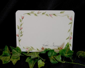 Set of 8, Hand Painted Personalized Note Card