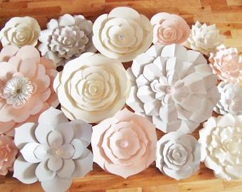 Large Paper Flowers Set of 15 - Paper Flower Wall | Baby Nursery | Paper Flower Backdrops | Home Decor | Wedding Backdrops | Flower Art