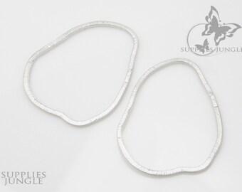 A301-01-MR// Matt Rhodium Plated Texture Organic Link, 4pcs