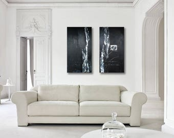 """48x48"""" Original Abstract Painting Set of 2 Acrylic Large Painting Modern Black White Grey Wall Art"""