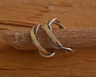 Twig Wedding Band Set, Silver & 14 KT Gold Wedding Bands, Twisted Tree Branch Commitment Rings, BE97
