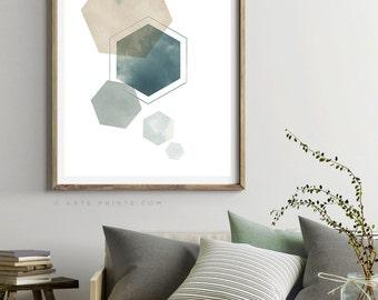 HEXAGON Wall ART Print, Large Geometric Poster, Teal Green Blue Wall Art Decor Modern Minimalist Art, Living Room Wall Art, Scandinavian Art