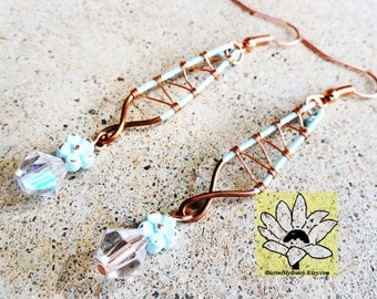 Pale Turquoise Copper Corset Earrings Wire-wrapped Handmade Daisy Dangle Beaded Earrings By Distinctly Daisy