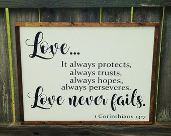 Love never fails sign|Corinthians 13\Wedding Gift|love sign|wedding sign|anniversary|gift, bedroom sign, gift for couple, love is patient