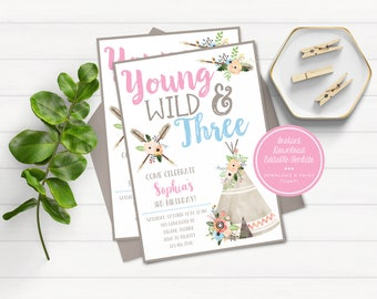 Young Wild and Three Invitations, Third Birthday Invitations, Wild Birthday Invitations, Bohemian Birthday Invite, Boho Invitation, Pink