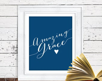 Amazing Grace Blue Christian Art - 8x10 Wall Art Instant Printable