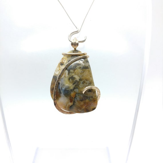 Widowmaker Plume Agate Pendant | Green Lace Agate Necklace | 14kt Yellow Gold Fill | Rare Stone Pendant | Included Agate Pendant