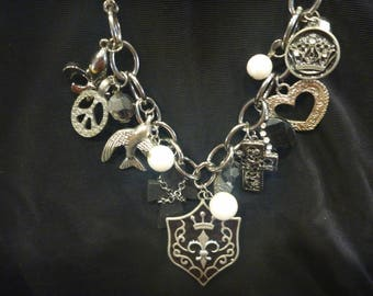 Vintage Silver ESTATE CHARM NECKLACE