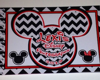 Disney Autograph Book Personalized Chevron Mickey and Minnie Mouse  - Your choice of color