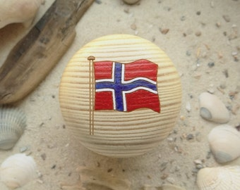 Cabinet knob Norway flag Norge furniture knob pine - - Norway flag