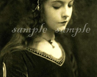 Instant DIGITAL DOWNLOAD VINTAGE Victorian Beautiful Little Girl photograph French postcard Gypsy Boho Gothic Wiccan Witch Princess