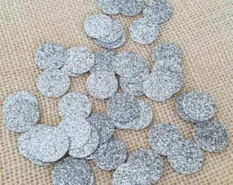 Silver Glitter Circle Confetti, Bridal Shower, Silver Wedding Decor,Silver Glitter Decor,Birthday,Party Confetti
