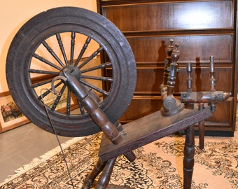 Primitive Antique Spinning Wheel Folk Art