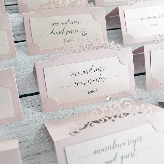 Blush Laser Cut Place Card w/ Crystal Accent - Blush Pink Escort Card - Custom Placecard for Weddings, Sweet 16, Quinceañera, Bridal Showers