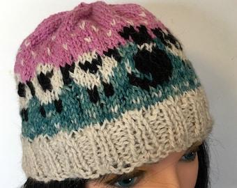 Bonnet d'hiver, bonnet de laine d'alpaga Fair Isle, chapeau de chien de berger pour les adolescents, hommes et femmes