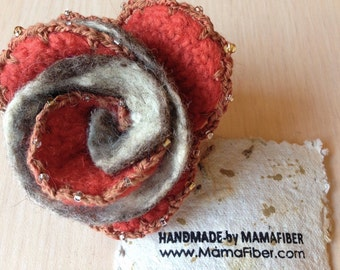Beaded woollen felted rose brooch - exquisite flower pin in rusty orange-grey, ready to ship