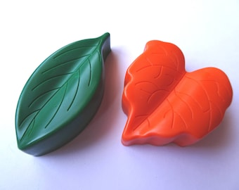 2 Leaf Crayons - Orange and Green - Novelty Crayons - RECYCLED
