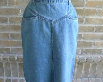 Vivaldi Vintage Denim Skirt / Vintage High Waist Denim Skirt / Made in USA / Women's Knee Length Denim Skirt