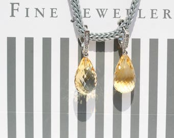 Citrine and white sapphires briolette drop earrings