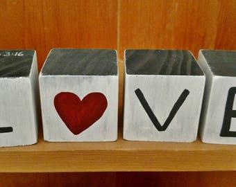 Love Wood Blocks, John 3:16 Valentine, For God so loved the world, Wood Block Letters, Valentine's Day Wood Blocks, Scripture Block, Wedding