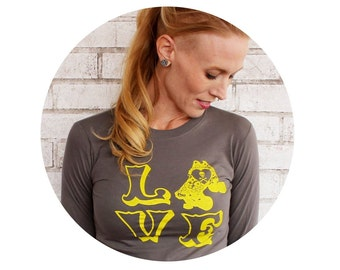 Roller Derby LOVE Tshirt, Long Sleeved Grey Cotton Crewneck Ladies Fitted Shirt, Skating Skater, Yellow and Gray, Handprinted screenprint