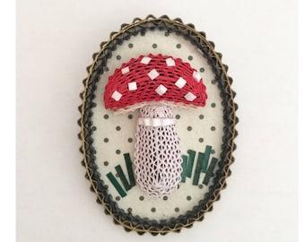 Medallion mushroom brooch