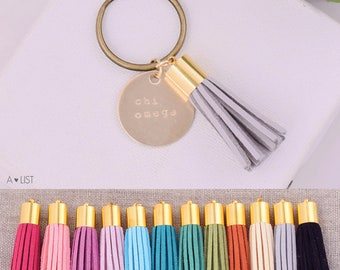 Chi Omega Sorority Keychain, Personalized ChiO Sorority Key Chain, XO Sorority Tassel Keychains, Big Little Keychain