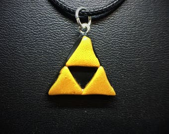 Legend of Zelda Golden Triforce Charm Necklace Polymer Clay