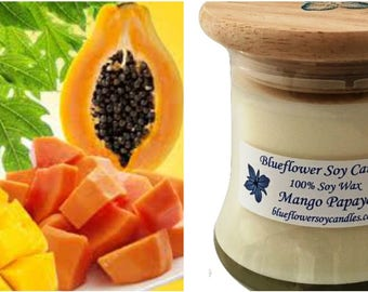 Soy Scented  Candle Mango Papaya Hand Poured 12 oz Jar With Wood Lid